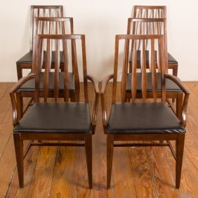 Mid-century Slat Back Dining Chairs, Six (6)