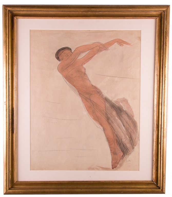A. Rodin Watercolor & Graphite Drawing on Paper