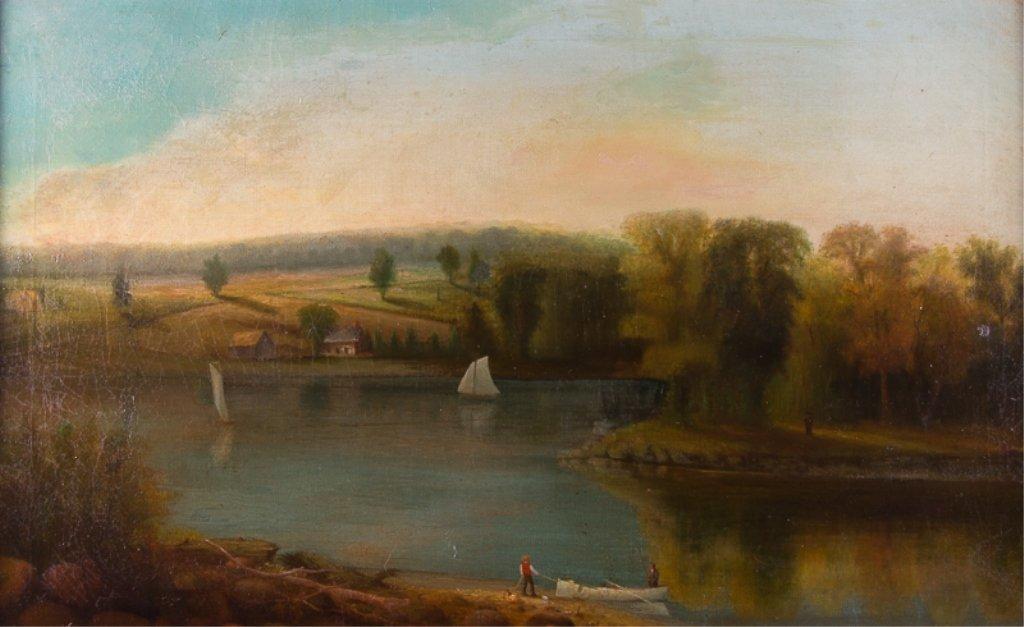 Franklin De Haven Oil on Canvas, Waterfront Scene