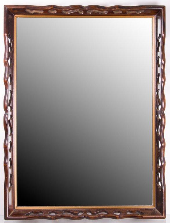 Vintage Pierced Wood Wall Mirror
