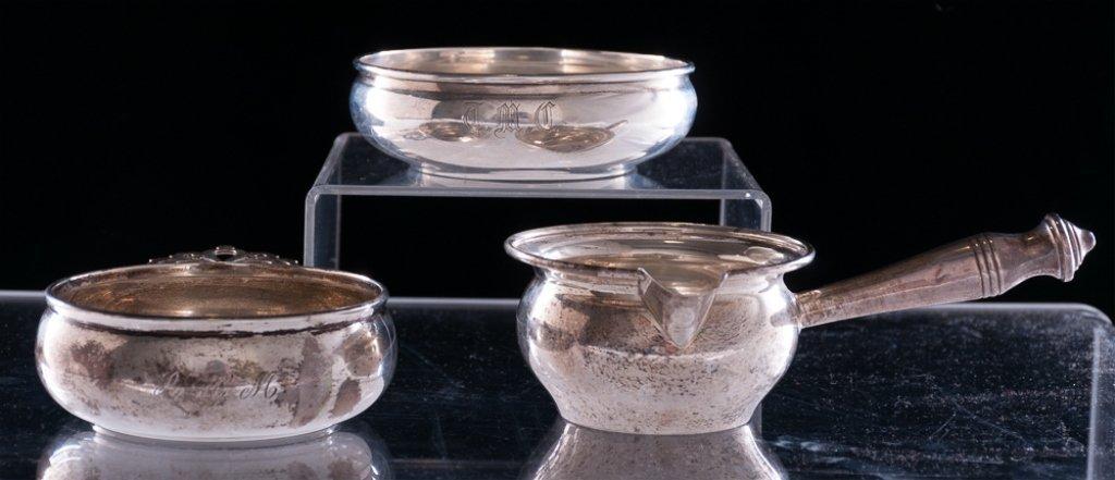 Sterling Porringer Bowls & Pourer, Three (3)