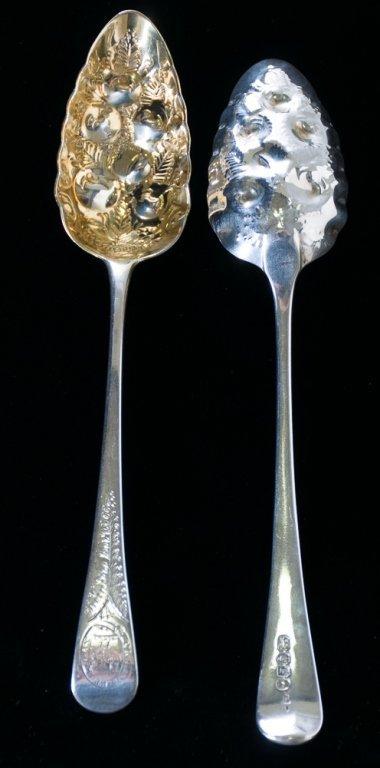 W. Elliott Sterling Silver Berry Spoons, Pair