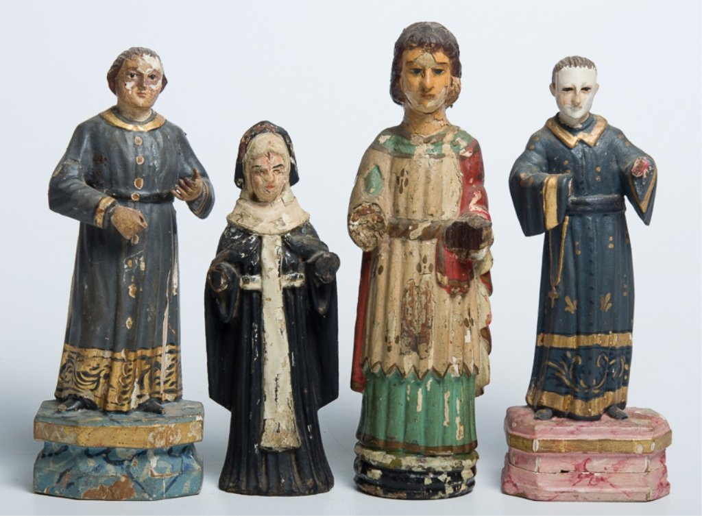Early Latin American Carved Wood Santos, Four (4)