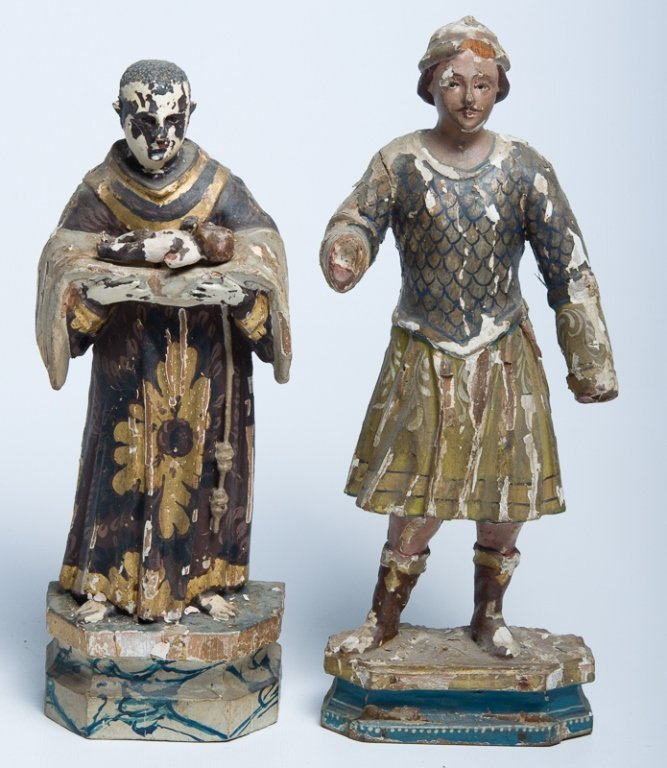 Early Latin American Carved Wood Santos, Two (2)