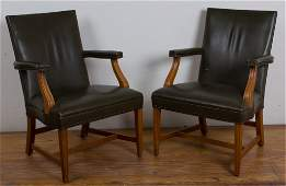 WH Gunlocke Leather Armchairs Pair