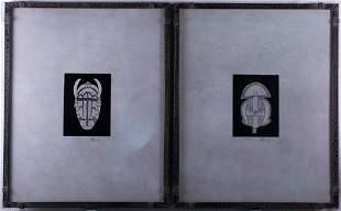 "Signed ""Safari Mask"" Engravings, Two (2)"