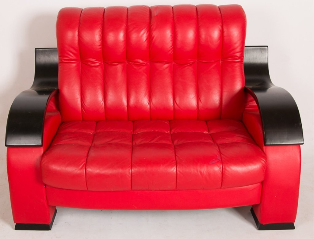 Designer Style Red Leather Loveseat