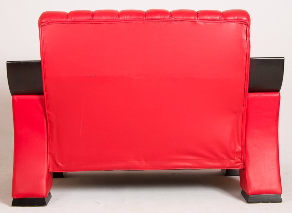 Designer Style Red Leather Loveseat - 4