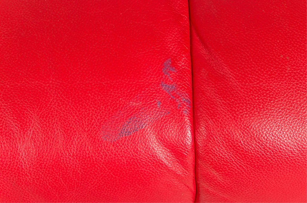 Designer Style Red Leather Loveseat - 8