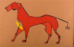 Paul Browning Cubist Dog Watercolor on Paper