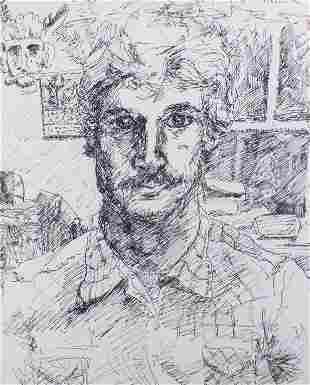 Modern Portrait Sketch, Framed
