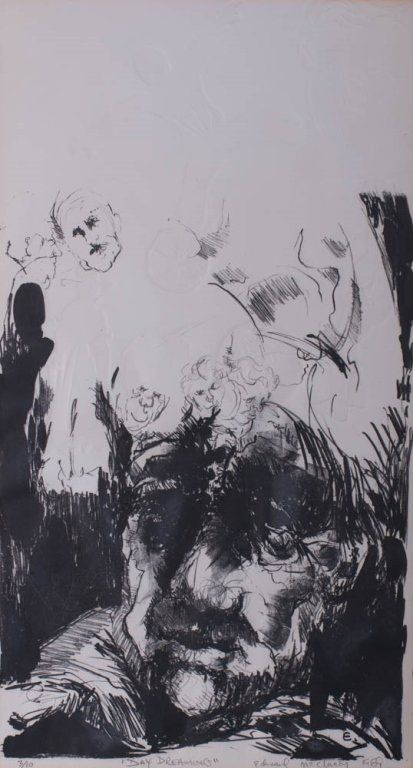 """Edward McCluney Signed Etching """"Day Dreaming"""""""