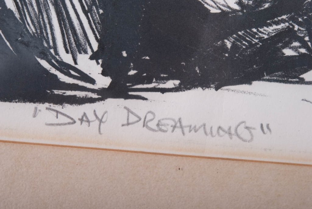 """Edward McCluney Signed Etching """"Day Dreaming"""" - 7"""
