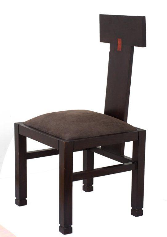 Modern Ebonized T-Back Side Chair