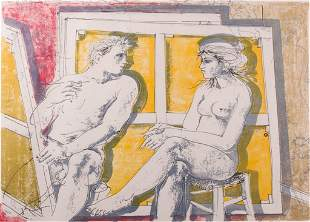 Signed Litho of Nude Man & Woman