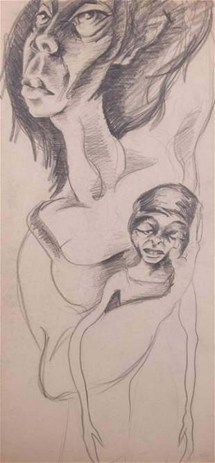 Franz Wismer Modernist Charcoal, Mother and Child