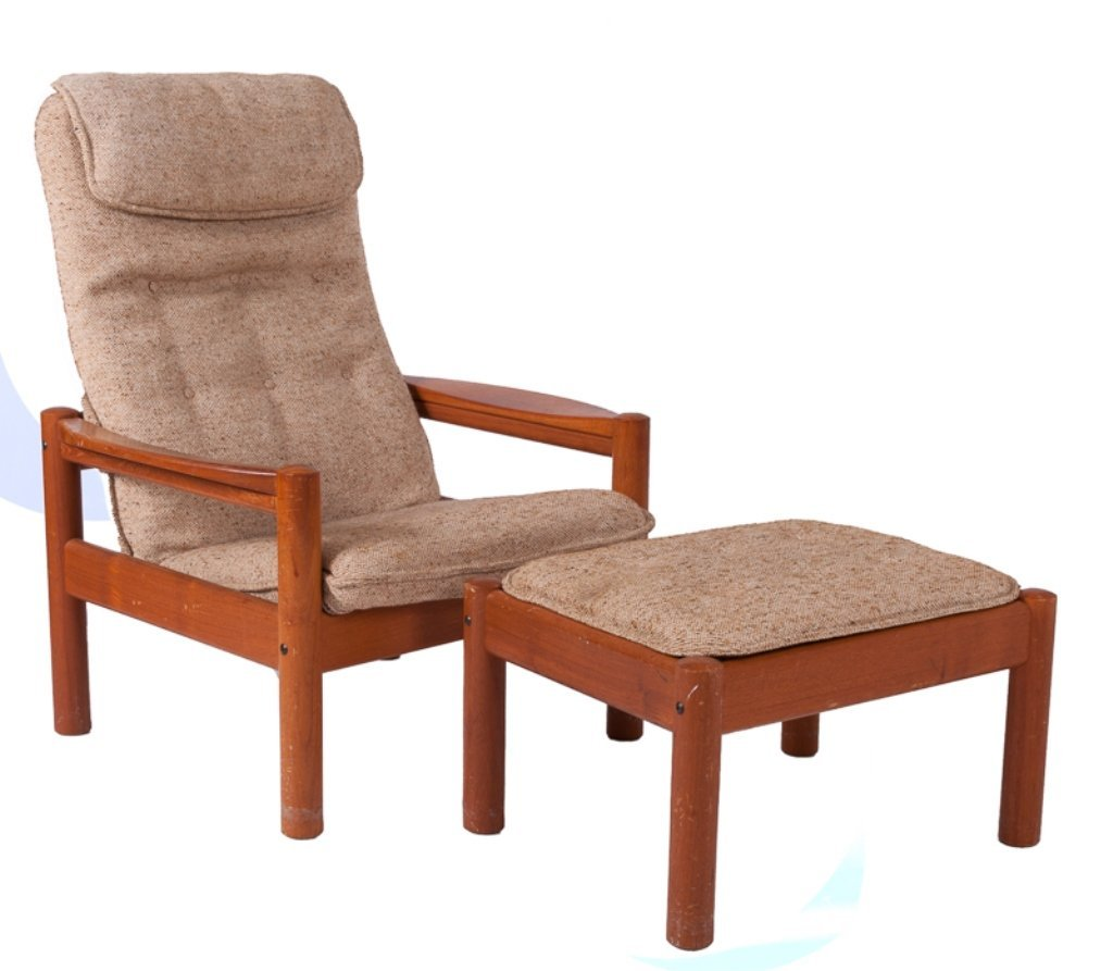 Domino Mobler Danish Lounge Chair & Ottoman