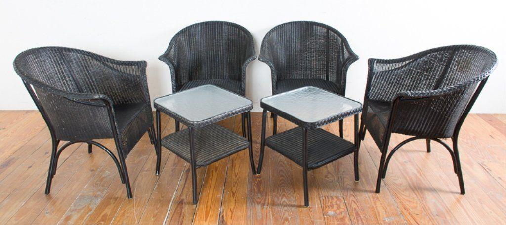 Lloyd Loom Outdoor Patio Furniture, Six (6)
