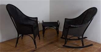 Lloyd Loom Outdoor Patio Furniture, Three (3)