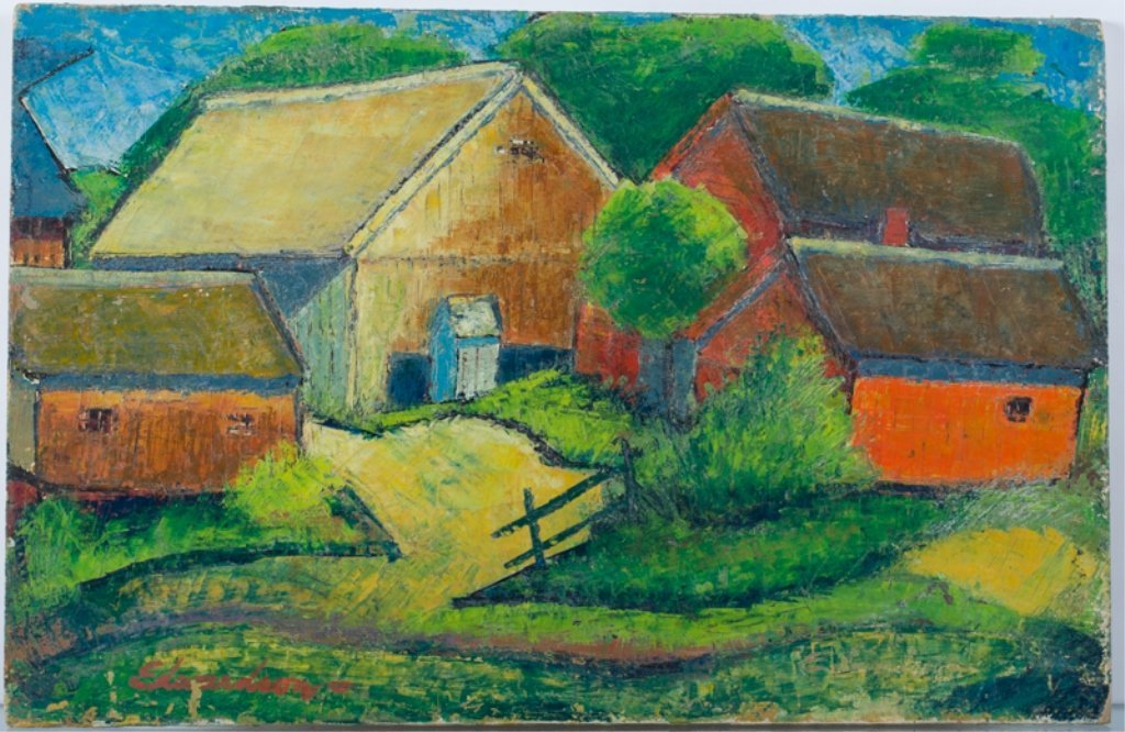 "Larry Edwardson ""Farmscape"" Oil on Board"