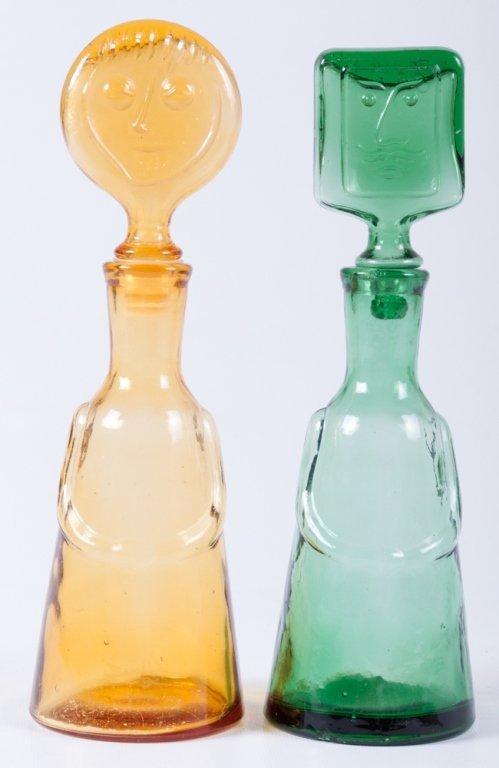 Erik Hoglund Modern Figural Glass Bottles, Two (2)