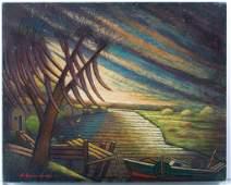 """Larry Edwardson """"Delacroix Island"""" Oil On Board"""