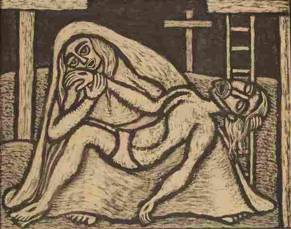 "Raimundo de Oliveira ""Pieta"" Oil on Canvas"