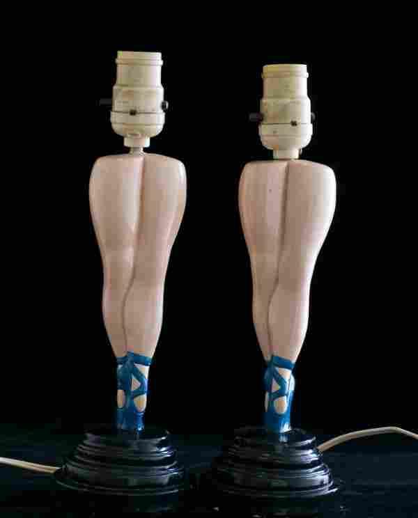 Ballerina Leg Table Lamps, Pair