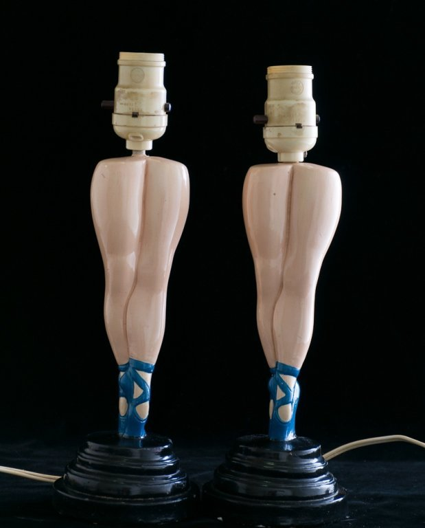 Ballerina Leg Table Lamps, Pair