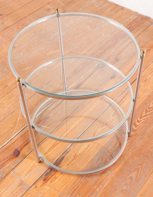 Round Three-Tier Glass Top Table