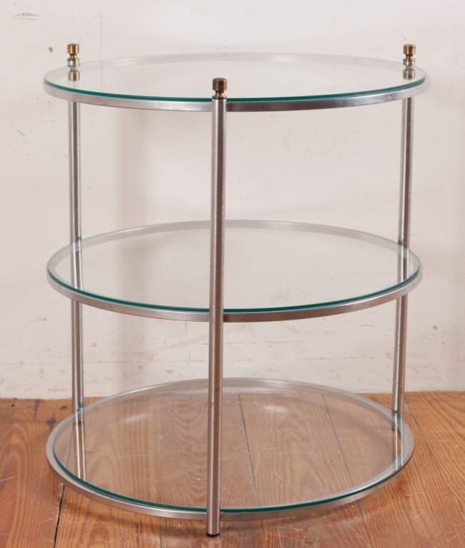 Round Three-Tier Glass Top Table - 2
