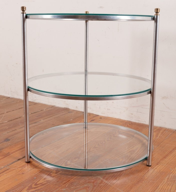Round Three-Tier Glass Top Table - 3
