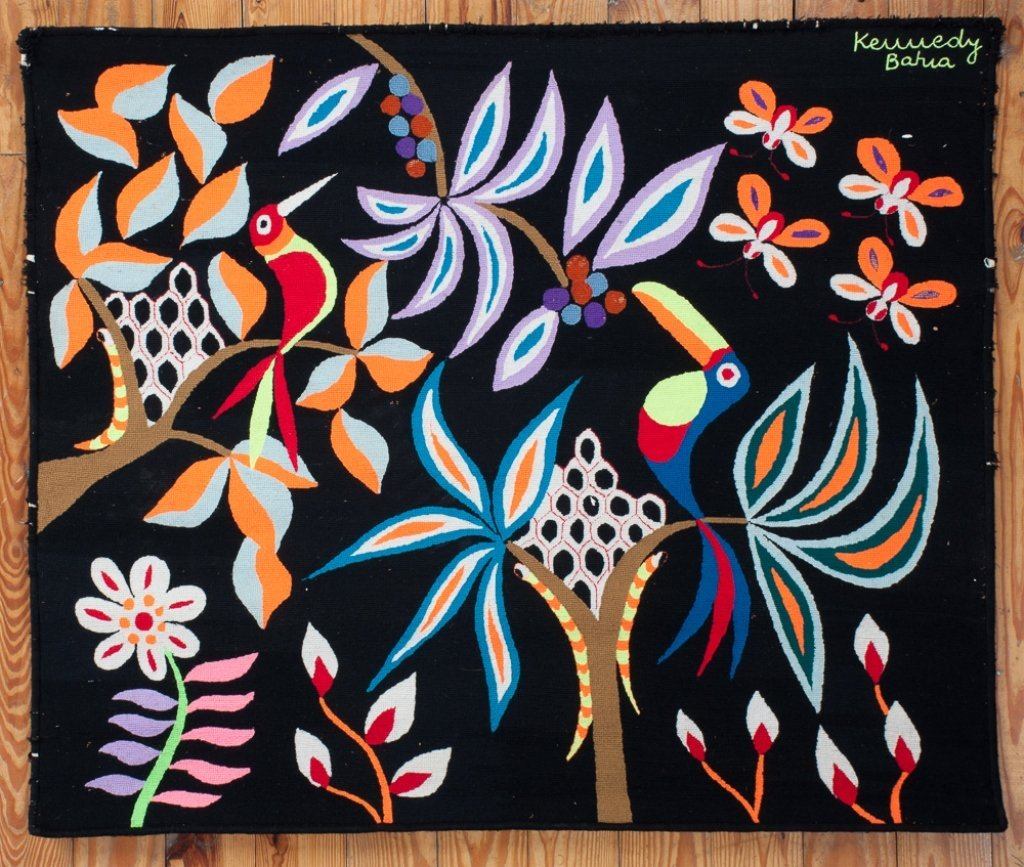 "Kennedy Bahia Needlepoint Tapestry, ""Borboletas"""