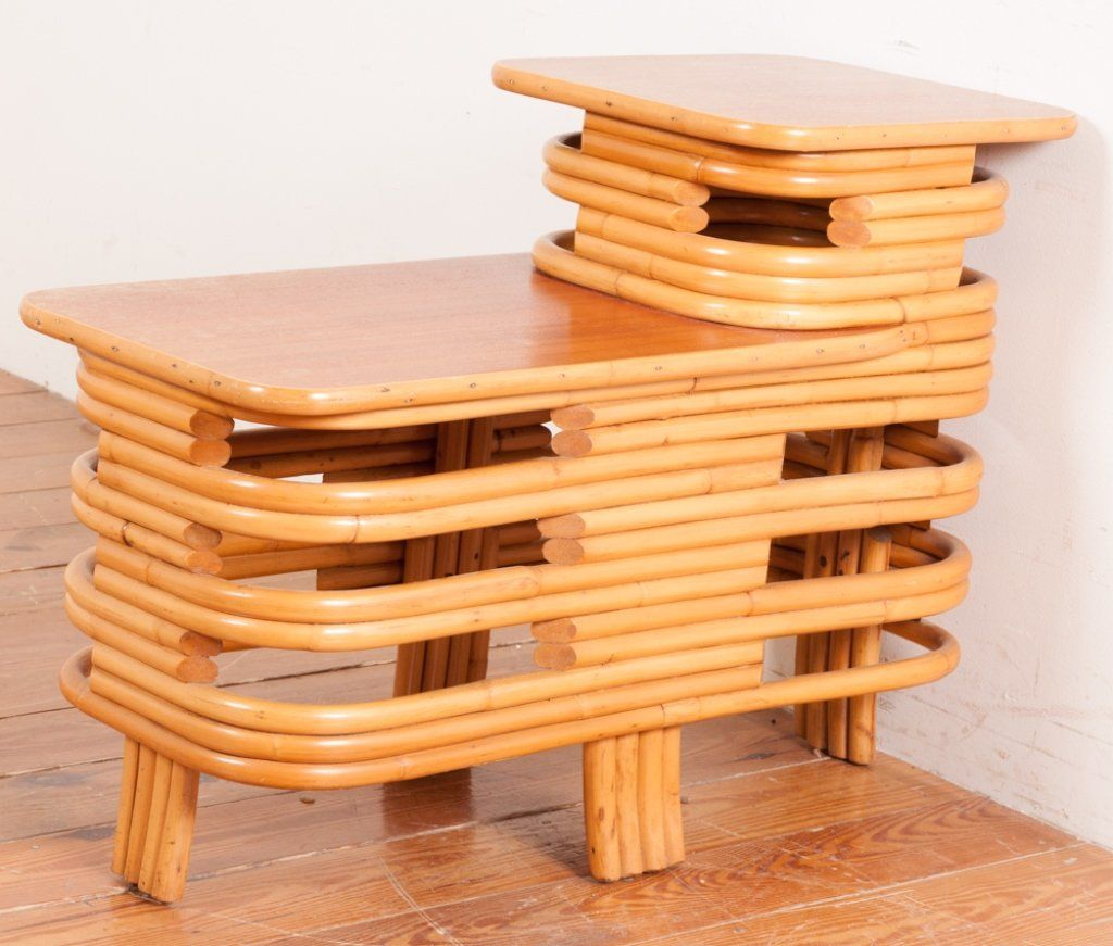 Paul Frankl Rattan Step Side Table