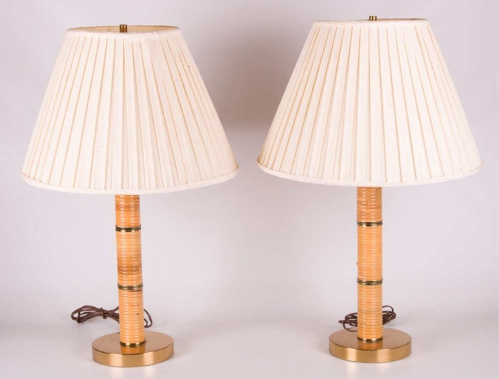 Mid-Century Rattan Wrapped Table Lamps, Pair