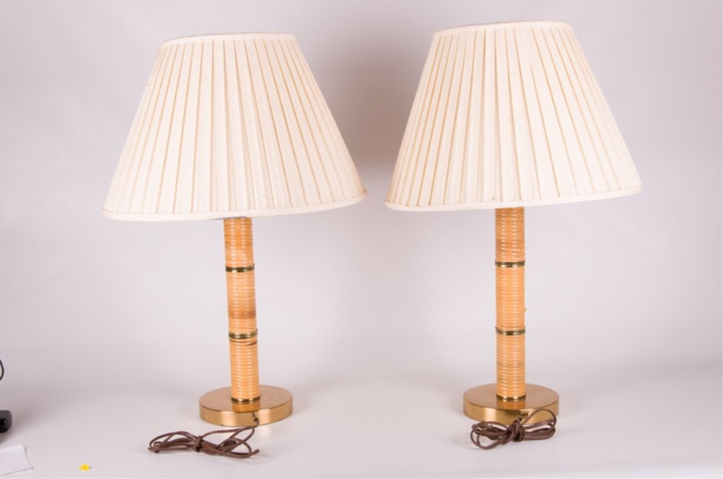 Mid-Century Rattan Wrapped Table Lamps, Pair - 2