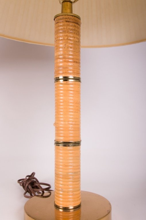 Mid-Century Rattan Wrapped Table Lamps, Pair - 5