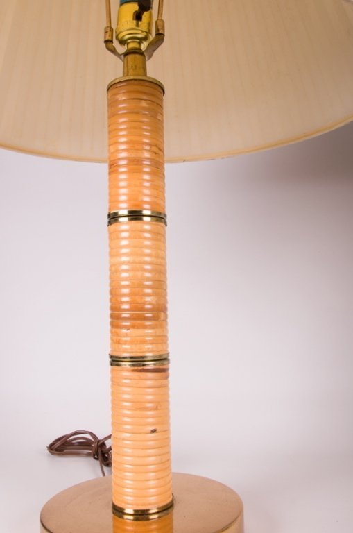 Mid-Century Rattan Wrapped Table Lamps, Pair - 6