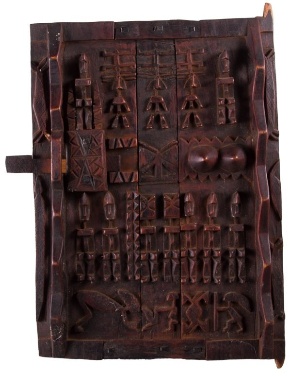 Cote D'Ivoire Carved Granary Door