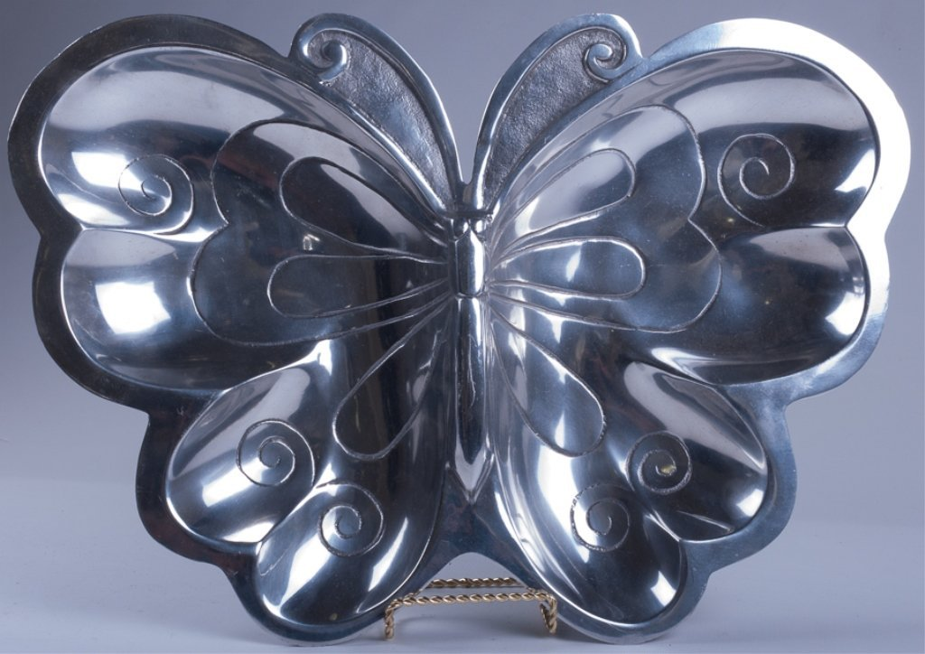 Vintage Aluminum Butterfly Tray
