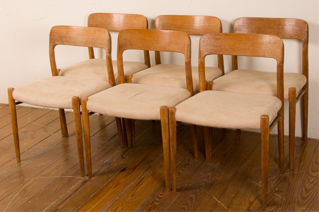 Teak & Upholstery Dining Chairs, Six (6)