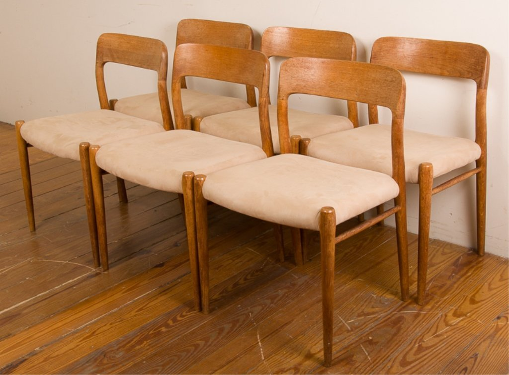Teak & Upholstery Dining Chairs, Six (6) - 2