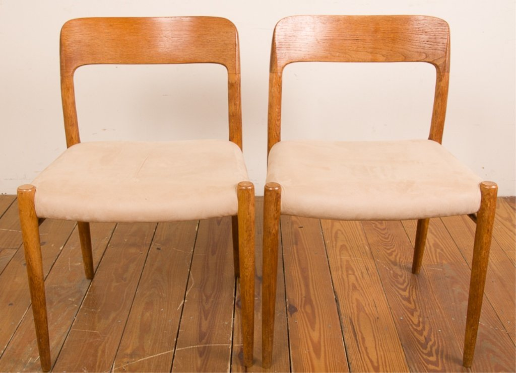 Teak & Upholstery Dining Chairs, Six (6) - 3
