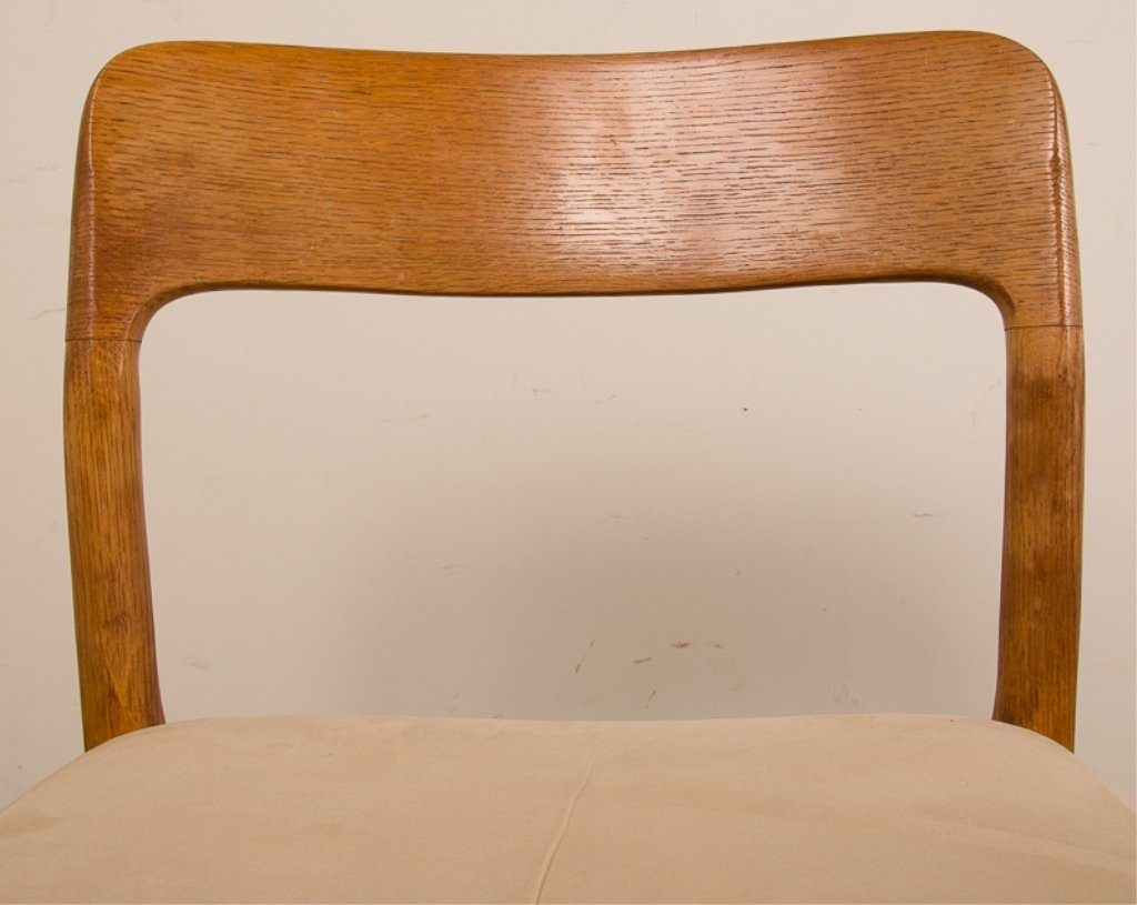 Teak & Upholstery Dining Chairs, Six (6) - 5