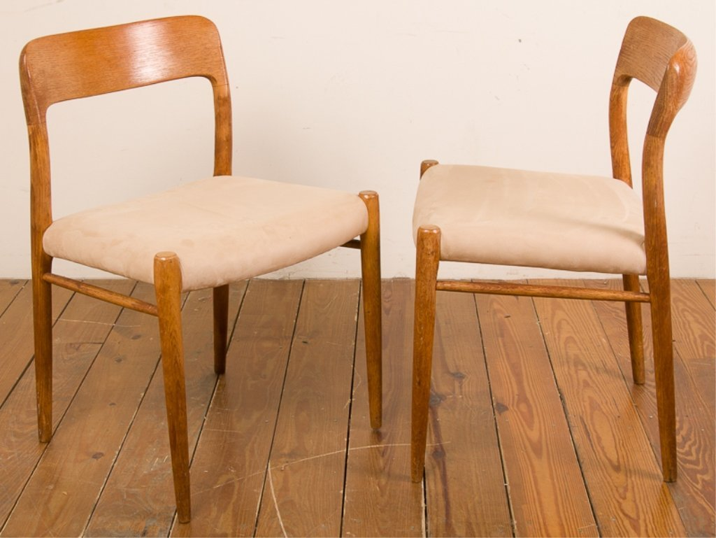 Teak & Upholstery Dining Chairs, Six (6) - 8