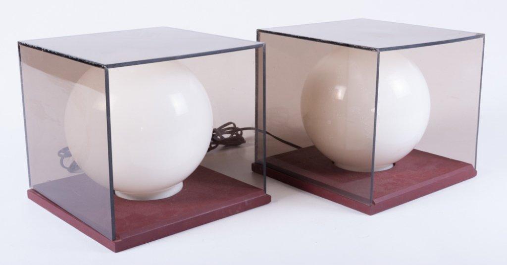 Mid-Century Cube/ Globe Lamps, Pair