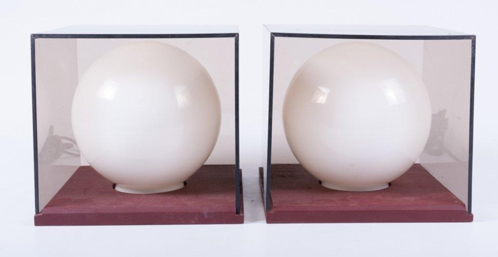 Mid-Century Cube/ Globe Lamps, Pair - 4