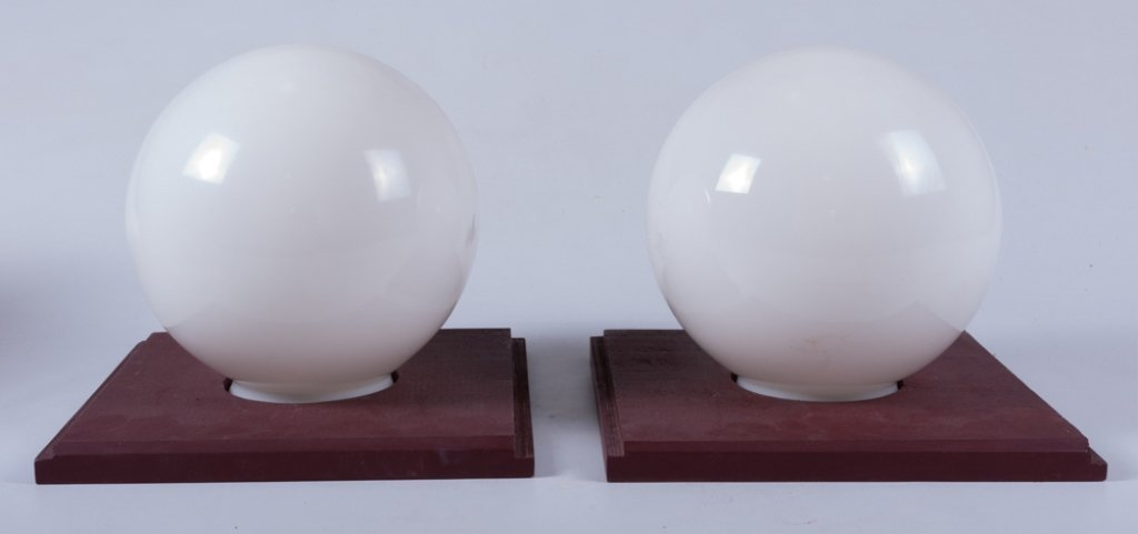 Mid-Century Cube/ Globe Lamps, Pair - 5