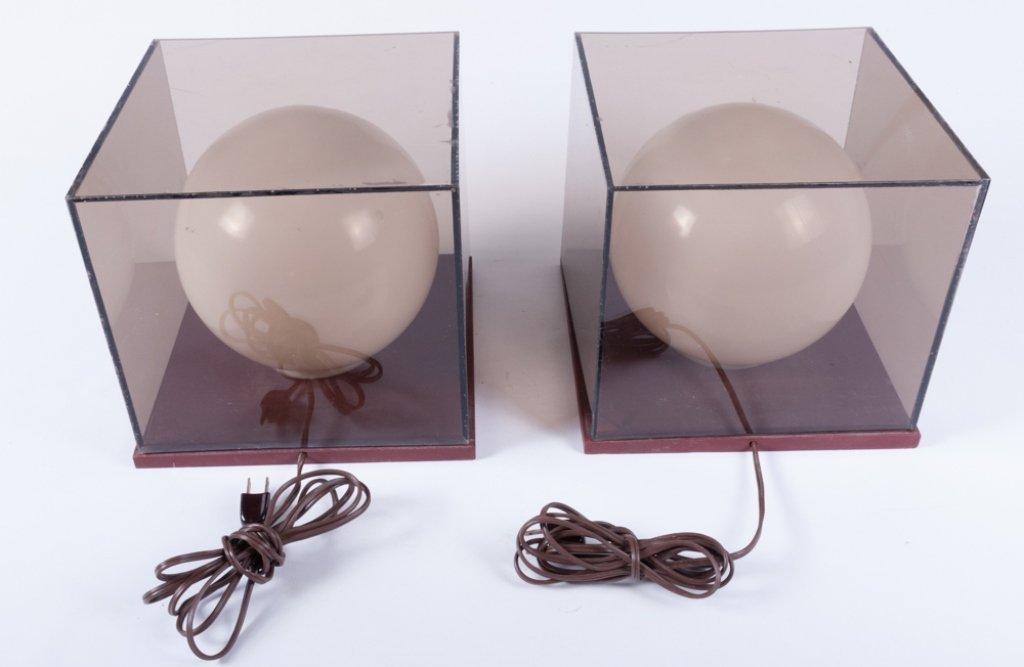 Mid-Century Cube/ Globe Lamps, Pair - 8