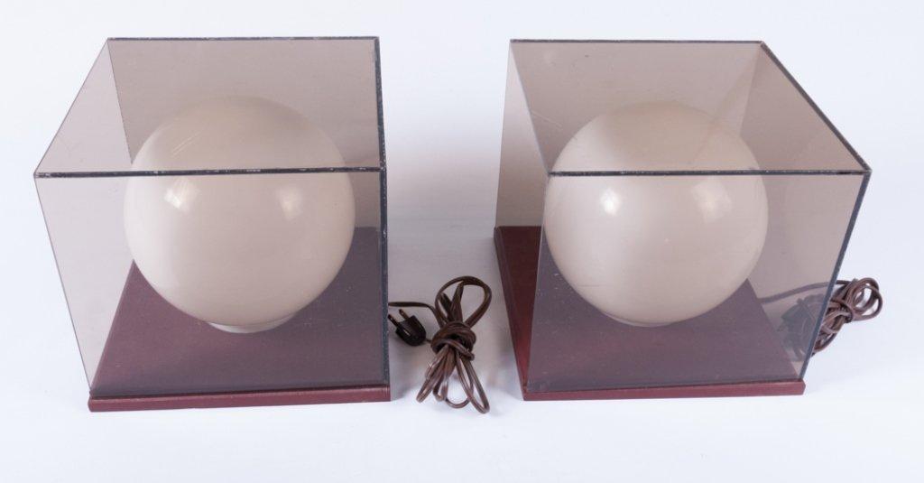 Mid-Century Cube/ Globe Lamps, Pair - 9